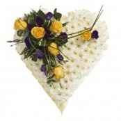 Funeral Heart Lilac and yellow